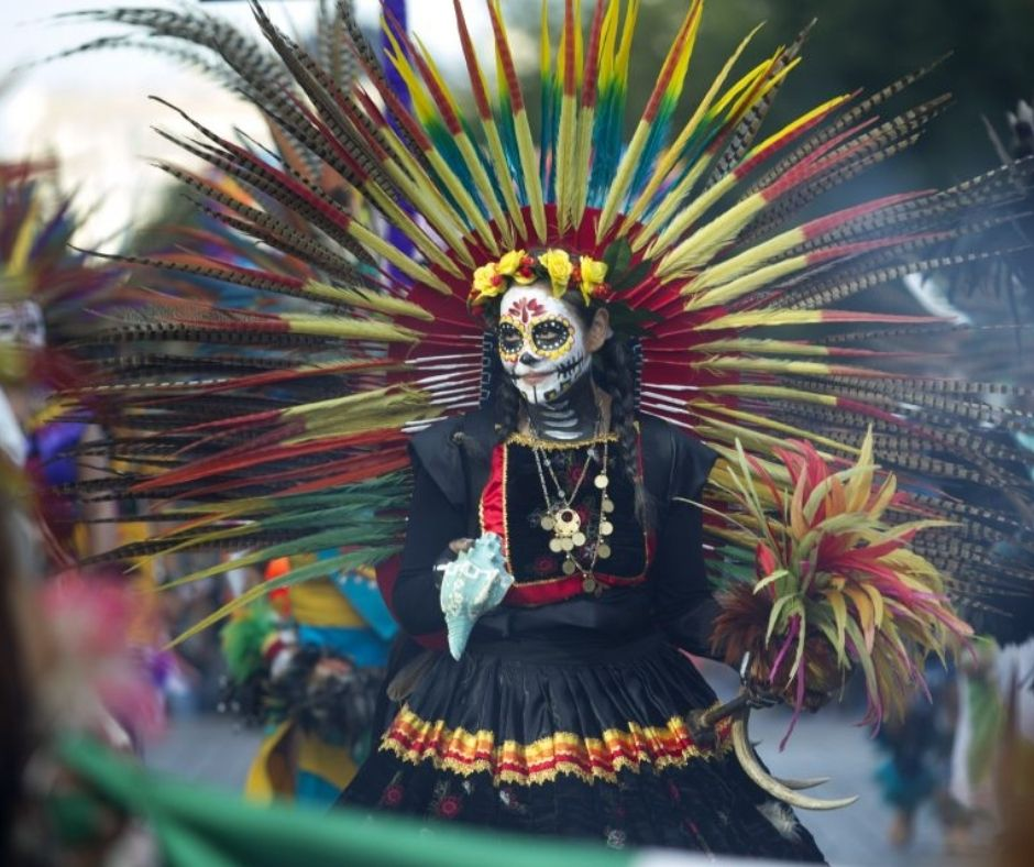 Día de Muertos catrina azteca